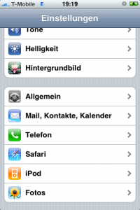 iPhone Mail,Kontakte,Kalender
