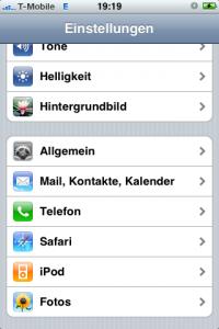 iPhone Mail,Kontakte,Kalender