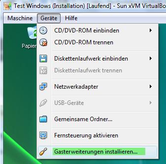 Virtualbox Gasterweiterung