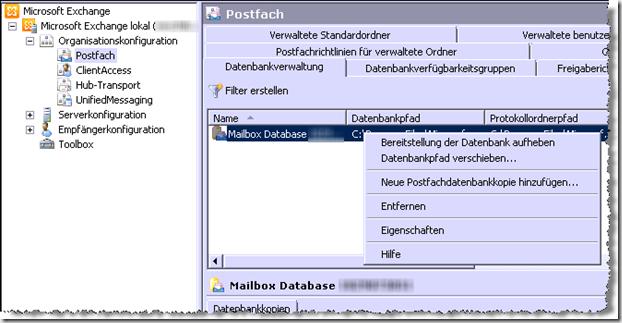Mailbox-Database-Eigenschaften