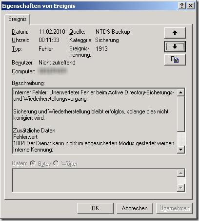 SBS2003-Exchange-Dienste-starten-nicht-01