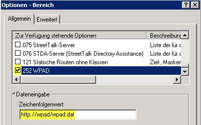 """Proxyeinstellungen """"Automatische Suche der Einstellungen"""" – WPAD"""